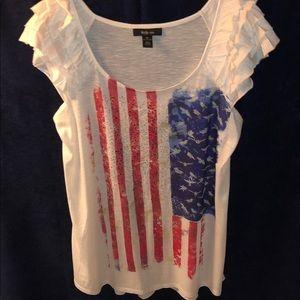 American Flag White Short Sleeve Top